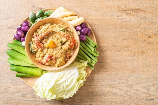 Chili paste simmer with crab or crab and soya dip with coconut milk and vegetables