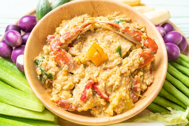 Chili paste simmer with crab and soya dip with coconut milk and vegetables