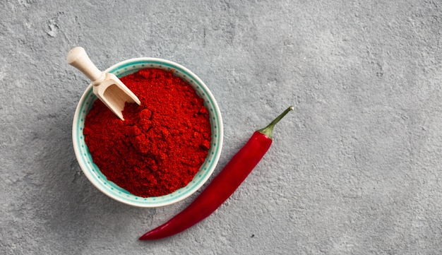 Chili pepper powder on concrete  with free space for text top view