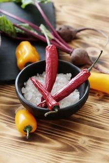 Chili pepper and salt