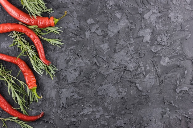 Chili peppers and rosemary background with copy space