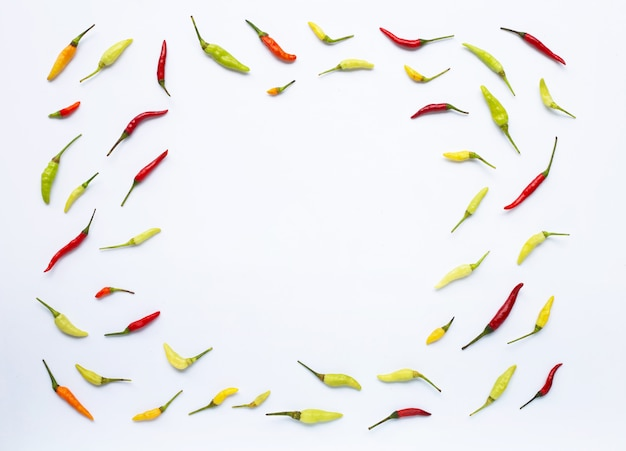Chili peppers on white