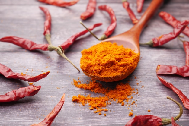 Chili powder and dried peppers on table