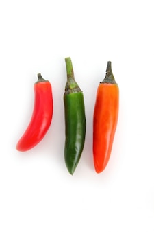 Chili serrano isolated on white green red orange