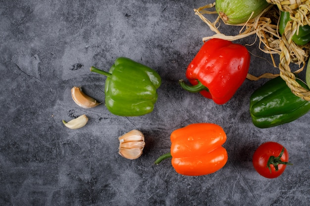 Цветастые перцы и чеснок chili на голубом камне.