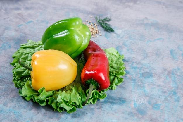 Перцы взгляда конца-вверх с салатом, перцем chili на текстурированной поверхности. горизонтальный