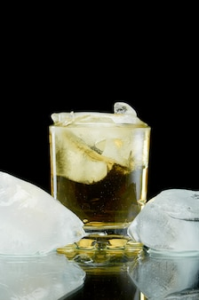 Chilled alcoholic cocktail with ice