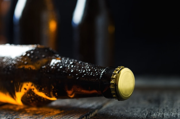 Chilled brown beer bottle