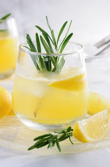 絞りたてのレモンジュースを加えたウォッカとトニックのチルドカクテル