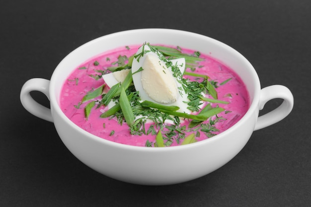 Chiller beetroot soup with egg