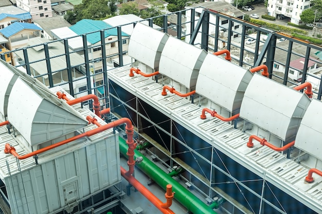 Chiller. sets of cooling towers in data center building.