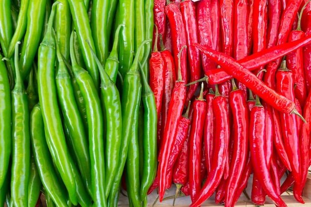 Chilli green and red were arranged in a neat and colors ranged break so beautiful