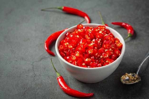 Chilli pepper on dark surface