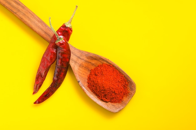 Chilli powder in wooden spoon with dry red chilly on yellow surface