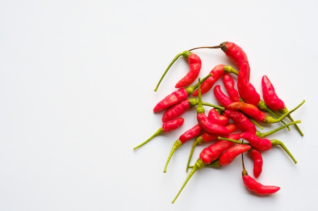 Chilli on white background with copy space