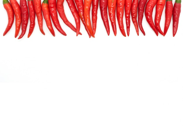 Chillies on white background
