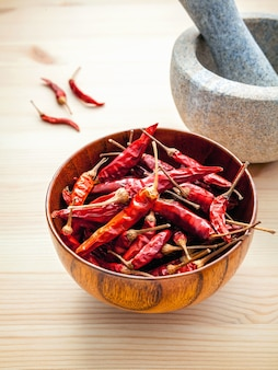 Chillies on white wooden background with mortar and pestle.