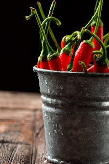 Chilly red peppers in a mini bucket close-up on stone tile and black