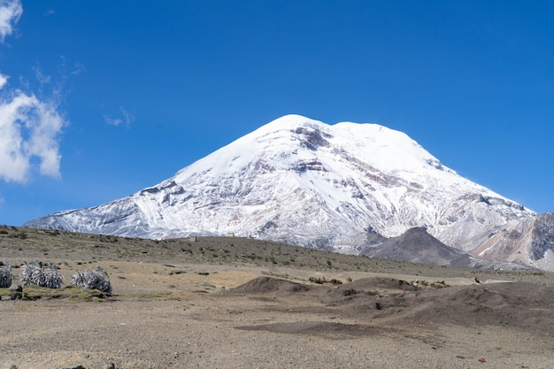 Chimborazo volcan covered in snow
