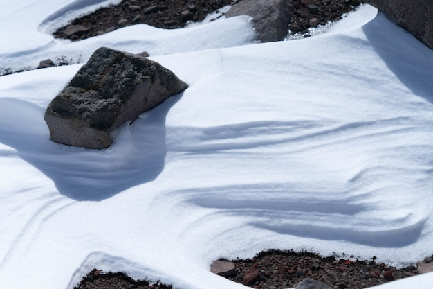 Chimborazo volcano covered in snow close up