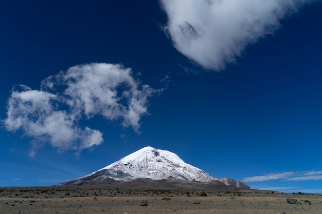 Chimborazo volcano covered in snow