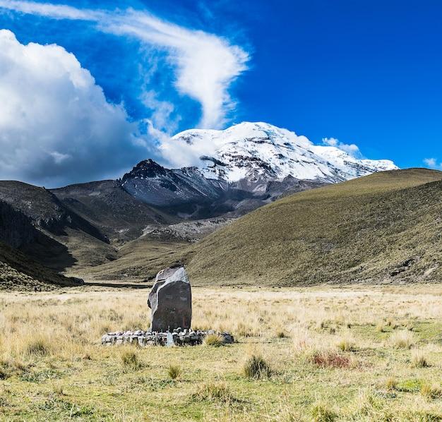 エクアドルの青空と白い雲の下のチンボラソ火山