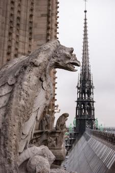 Химера горгульи собора нотр-дам де пари с видом на париж, франция