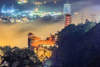 Chin Swee Cave Temple in Genting Highlands at dusk