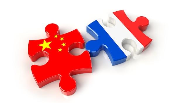 퍼즐 조각에 중국과 프랑스 플래그입니다. 정치적인 관계 개념입니다. 3d 렌더링