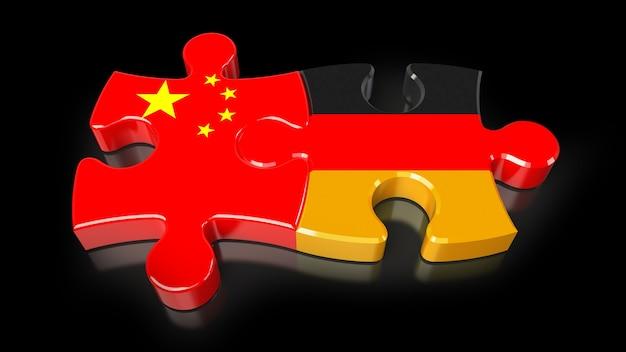 퍼즐 조각에 중국과 독일 플래그입니다. 정치적인 관계 개념입니다. 3d 렌더링