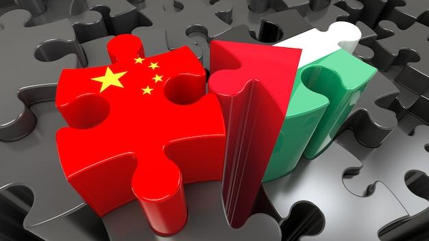Флаги китая и палестины на кусочках головоломки. концепция политических отношений. 3d рендеринг