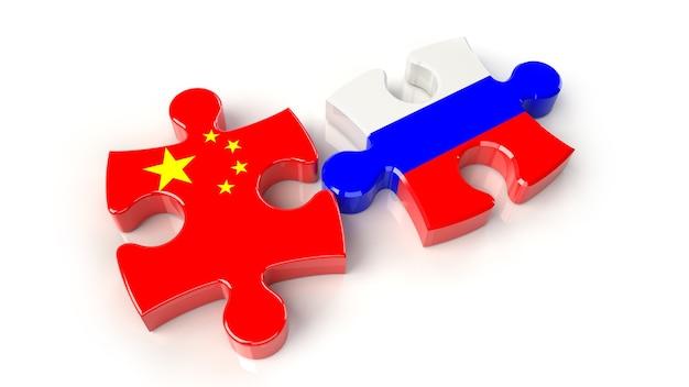 퍼즐 조각에 중국과 러시아 플래그입니다. 정치적인 관계 개념입니다. 3d 렌더링