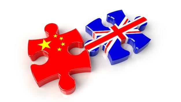 퍼즐 조각에 중국과 영국 국기입니다. 정치적인 관계 개념입니다. 3d 렌더링