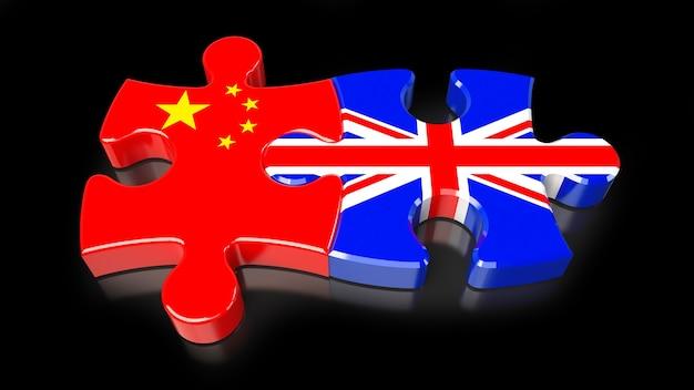 퍼즐 조각에 중국과 영국 국기입니다. 정치적인 관계 개념입니다. 3d 렌더링 프리미엄 사진