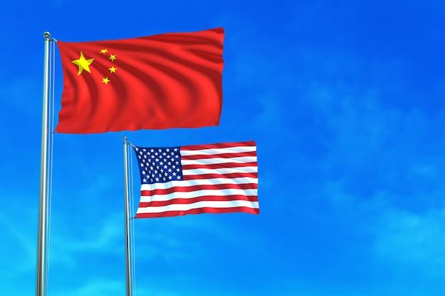 Китай и сша (сша) флаги на фоне голубого неба