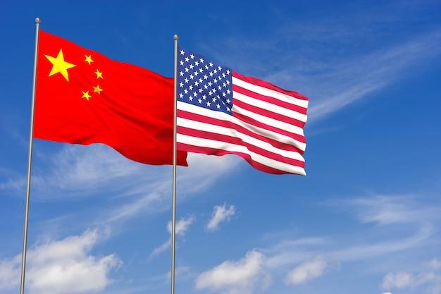 푸른 하늘 배경 위에 중국과 미국 플래그입니다. 3d 일러스트레이션