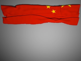 China flag blowing, 3D rendering