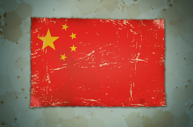 China flag on grune texture background . vintage photo filter