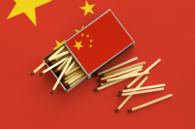 China flag  is shown on an open matchbox, from which several matches fall and lies on a large flag