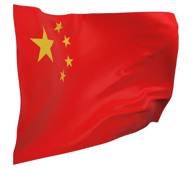 Флаг китая изолирован. размахивая знаменем. государственный флаг китая