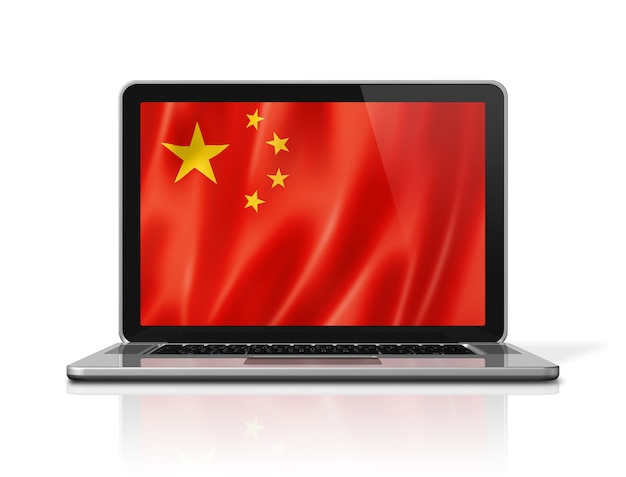 China flag on laptop screen isolated on white. 3d illustration render.