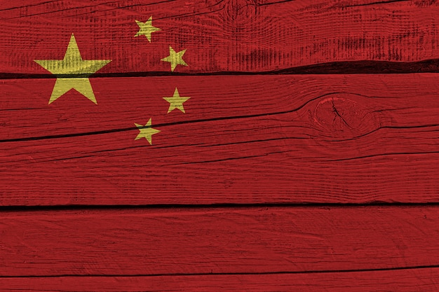 China flag painted on old wood plank