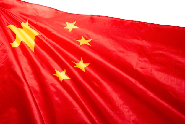 배경으로 흔들며 중국 국기입니다. 외딴.