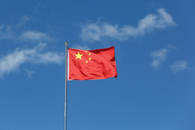 China flag waving in the wind.