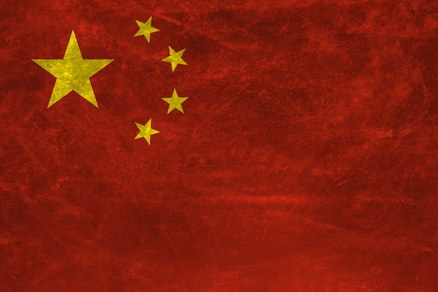 China flag with grunge texture  .