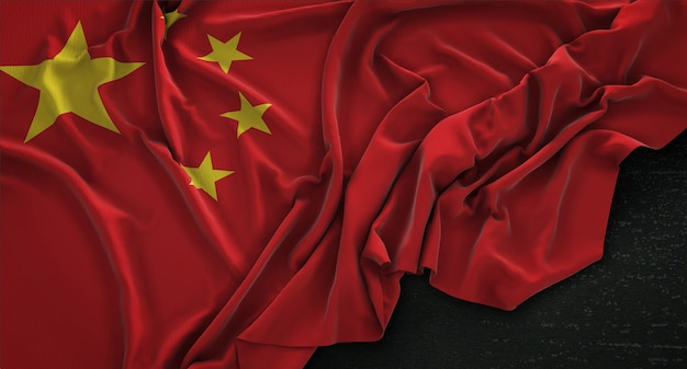 China flag wrinkled on dark background 3d render