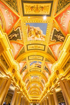 China, macau - september 10 2018 - luxury hotel resort and casino game in venetian landmar