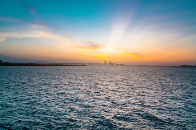 China's famous cable-stayed bridge, jiaozhou bay sea-crossing bridge in qingdao, shandong province and the sea scenery