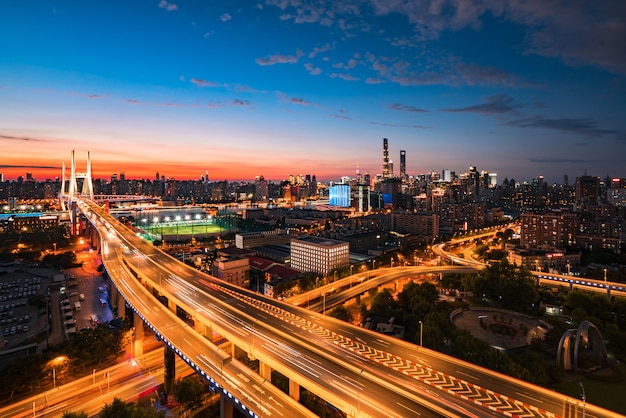 China, shanghai, transportation, nanpu bridge, night scene, city, car, blue sky, white clouds,