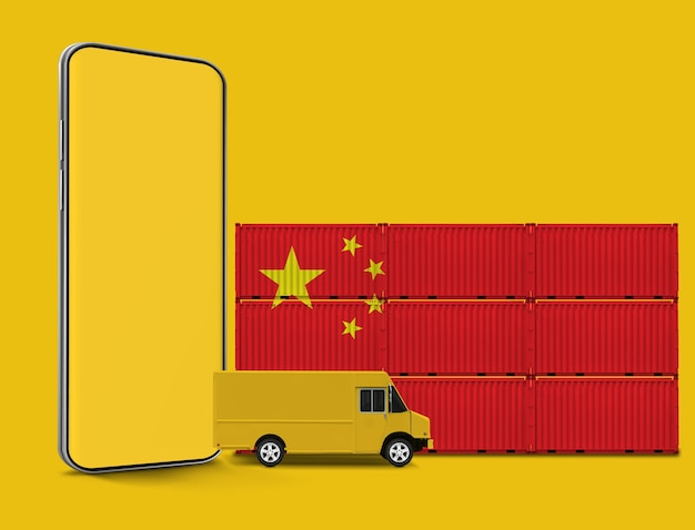 중국 배송 개념 컨테이너 물류 개념
